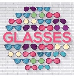 Colorful glasses on brick wall circle infographics vector