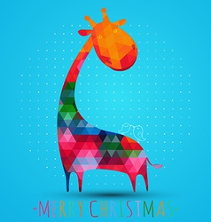 colorfull christmas greeting card with giraffe vector image vector image