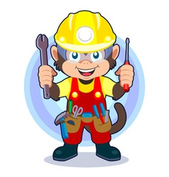 Construction Monkey vector image vector image