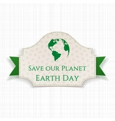 Earth day festive banner on green ribbon vector