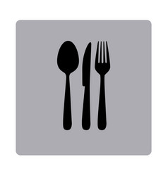 Figure emblem metal cutlery icon vector