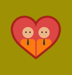 Flat icon on stylish background gays in the heart vector