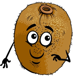 funny kiwi fruit cartoon vector image vector image