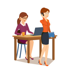 girl working at computer in office speak to phone vector image vector image