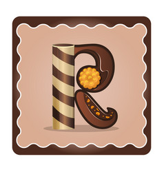 Letter r candies chocolate vector