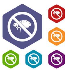 No flea sign icons set vector