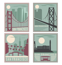Old style vintage retro posters with san francisco vector
