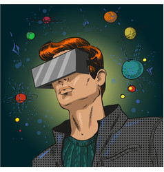 Pop art of young man in 3d vector