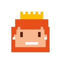 Pricess girl pixelated icon vector
