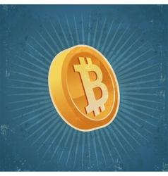 Retro gold bitcoin coin vector