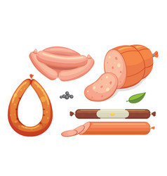 set of cartoon sausage bacon sliced vector image