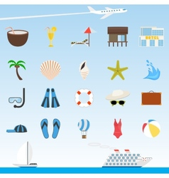 Set of flat travel and tourism icons vector image vector image