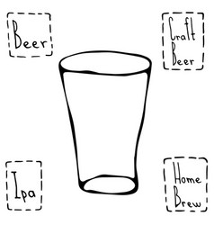 shaker pint beer glass hand drawn vector image