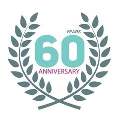 Template Logo 60 Anniversary in Laurel Wreath vector image