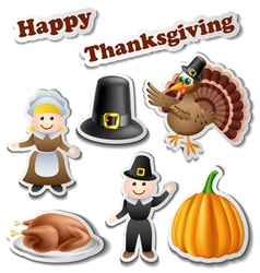 Thanksgiving sticker set vector image