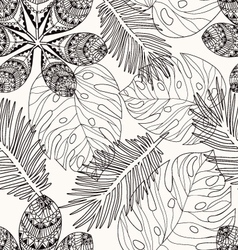 Tropical leaves hand drawn pattern vector image vector image