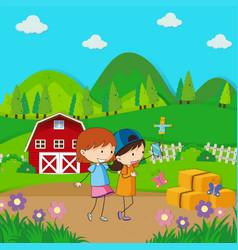 Two girls taking selfie in the farmyard vector
