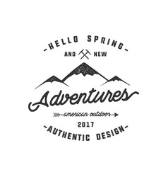 Vintage adventure hand drawn label design hello vector