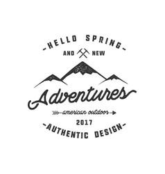vintage adventure hand drawn label design hello vector image