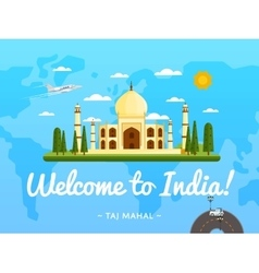 Welcome to India poster with famous attraction vector image