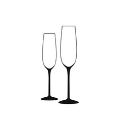 wine glass of wine glass a long empty vector image vector image