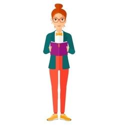 Woman reading book vector