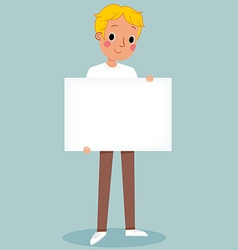 Young man holding blank sign vector