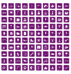 100 childrens parties icons set grunge purple vector image vector image