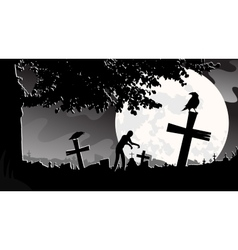 Panorama landscape cemetery vector