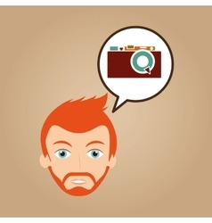 Face man bearded hipster photographic camera vector