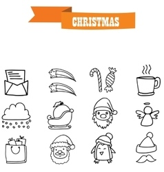 Icons of object christmas set vector