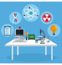 Workspace table laboratory equipment biology vector