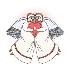 Two angels with heart Stock vector image
