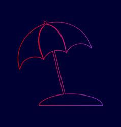 umbrella and sun lounger sign  line icon vector image
