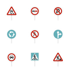 Various road signs icons set flat style vector