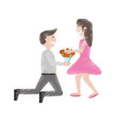 drawing couple romance- man kneel give flowers vector image