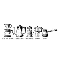 set of coffee preparation vector image