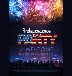 Independence day party poster with holiday vector