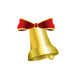 gold bell with red bow decoration christmas vector image