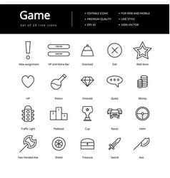 Game line icons vector