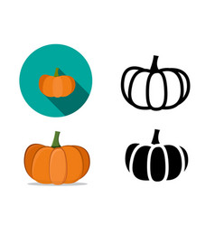 Pumpkin icons in flat style vector