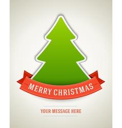 Christmas postcard green tree and ribbon backgroun vector image