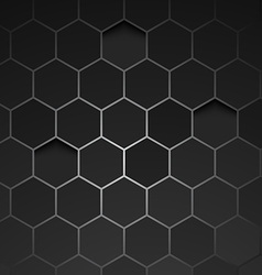 Abstract black background hexagon vector
