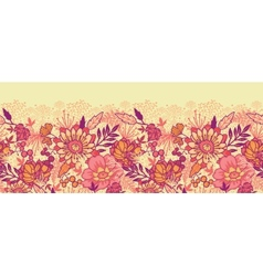 Fall flowers horizontal seamless pattern vector image