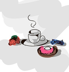 Breakfast - tea strawbwerry candy donut vector