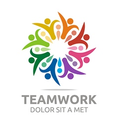 Logo teamwork people human colorful design vector