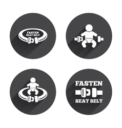 Fasten seat belt signs child safety in accident vector