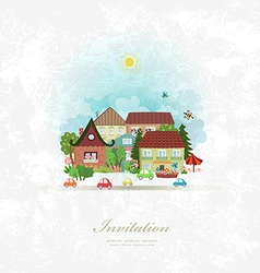 Vintage invitation card with cute village vector