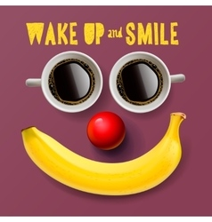 Wake up and smile motivation background vector image