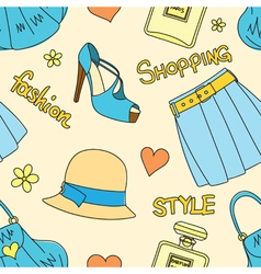 Pattern with hats perfume footwear skirt handbags vector